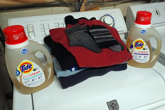 Some of my own clothes cleaned using Tide Purclean