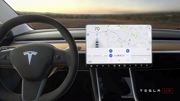 The Model 3 interior shown