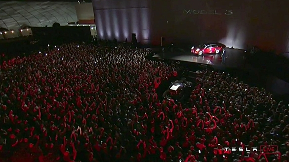 Large crowd attends Tesla Model 3 First Deliveries Event