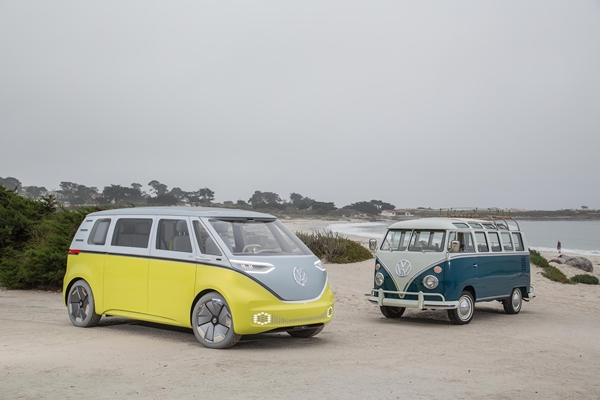 VWs I.D. Buzz Concept with an iconic Microbus.  PHOTO: Volkswagen AG